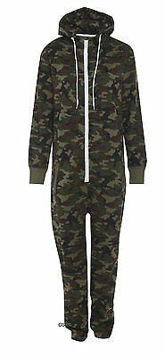 Kids Army Camouflage Print Hooded Fleece Jumpsuit All in one Youths