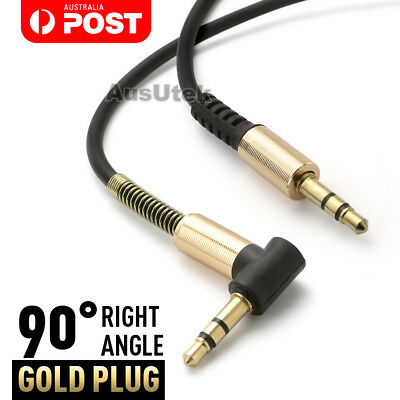AUX Audio Cable 3.5mm Spiral Coil Gold 1M Cord Male to Male Stereo Jack For Car