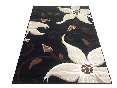 Black Rug 115 x 165 Flora Beige Modern Soft Stain Resistant Lily Lilies