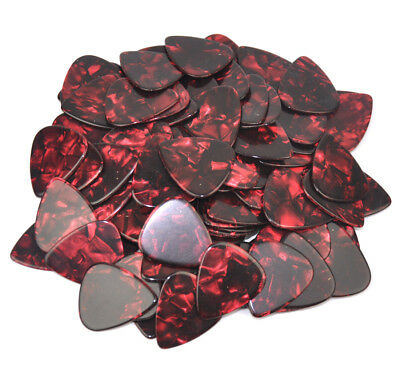 50pcs Heavy 1.5mm Guitar Picks Plectrums Celluloid Pearl Red For Electric Guitar