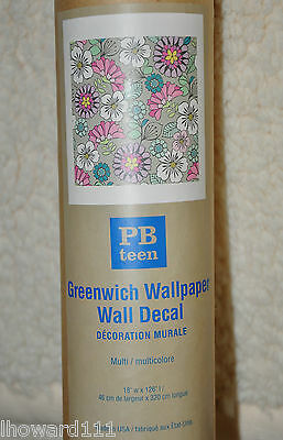 NIP Pottery Barn Teen Greenwich Wallpaper Wall Decal