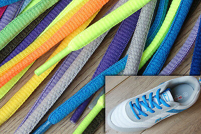 FLAT PADDED OVAL COLOURED SHOE LACES SHOELACES BOOTLACES - 24 COLOURS 120cm