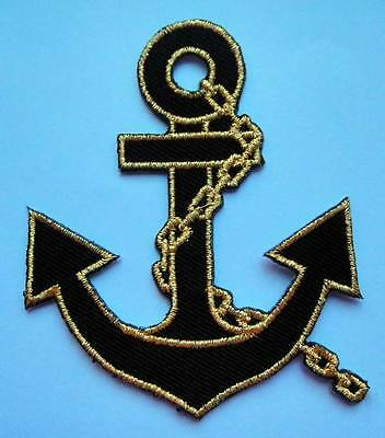 PRETTY CUTE BLACK GOLDEN ANCHOR Embroidered Iron on Patch + Free Shipping