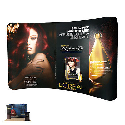 New Pop up 10ft Curved Fabric Tension Trade Show Display Wall (Graphics Include)
