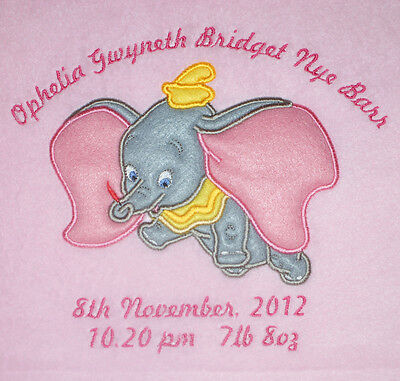 Disney Flying Dumbo Luxury Personalised Applique Super Soft Fleece Blanket