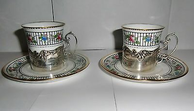 Two Shelley Coffee Cans & Saucers with Silver Hallmarked Holders