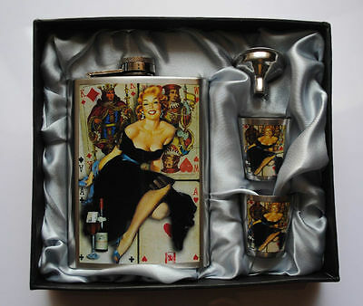 8oz Stainless Steel  Hip Flask 2 Print Cups 1 Funnel Gift Set in Box #5X-B