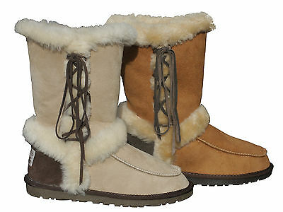 100% Australia Twin-Face Sheepskin Ugg Boots with Laces Sizes 5-10 Women Ladies