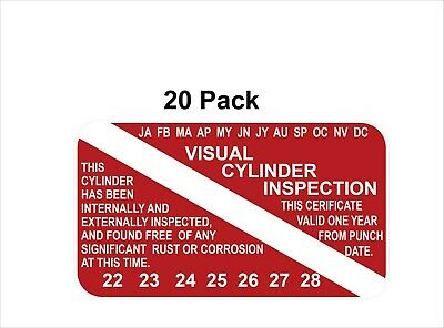 Scuba Stickers Visual Cylinder Inspection Stickers Pack of (20) Decals/Stickers