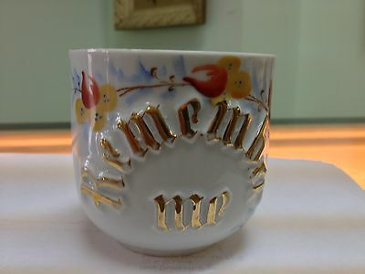 Antique German Mustache cup, china cup with inscription Remember Me