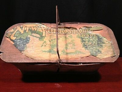Antique Wooden Grape Basket New York State Grapes Litho Really Neat Item