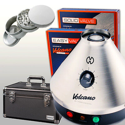 NEW Volcano Vaporizer Classic w/ Easy or Solid Valve + CARRY CASE + 4 pc Grinder