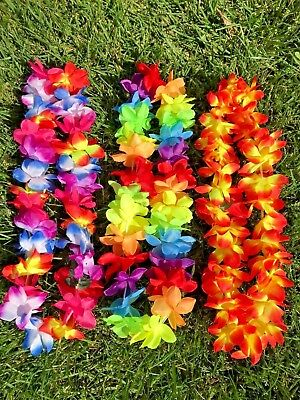 NEW Hawaiian Silk Flower Lei Hawaii Luau Party Favors Hula Necklace ~ LOT OF 3