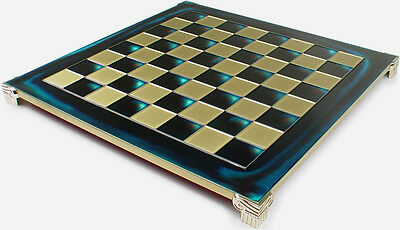 """Manopoulos Brass & Blue Chess Board - 1.375"""" Squares"""