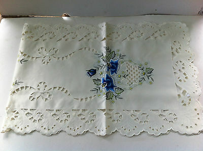 Blue Rose Cutwork and Embroidered Table Runner  - 40 x 120cm