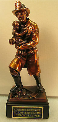 "Fireman Firefighter Award Trophy Statue 12 1/2""  FREE Engraving Shipped 2 Day"