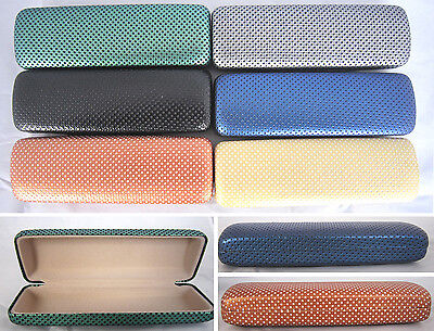 C8 Metal Hard Case/Dotty Pattern Faux Leather Cover/For Small Glasses/Spectacles