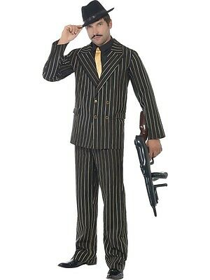 Adult Mens Gold Pinstripe Gangster Costume 1920's Razzle Fancy Dress - 2 Sizes