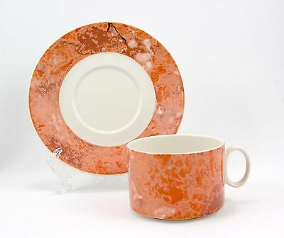 Villeroy and Boch SIENA 01-133 Flat Cup and Saucer Set 2.25 in. Salmon Peach Rim