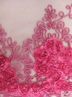 "ANTIQUE ROSE MESH FABRIC - Fuchsia - 52""  WIDTH SOLD BY THE YARD"