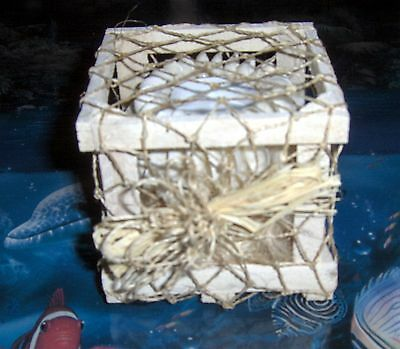 Rose Clam Sea Shell Votive Candle Holder In Netted Crate Beach Decor Nauintical