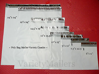 16 Poly Bag Shipping Envelopes 8 Size Variety Pack 2.5 Mil Self-Sealing Mailers