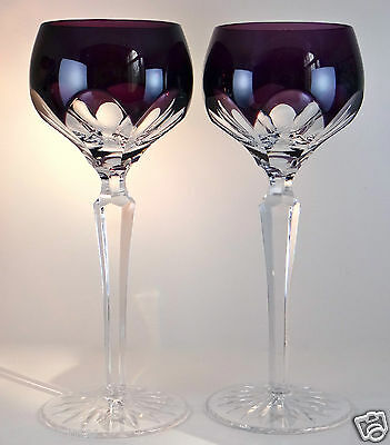 Faberge Lausanne Wine Glasses Goblets Amethyst Purple Cased Crystal