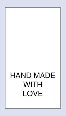 100 Hand Made With Love Sewing Washing care Labels  Code PRNT0031