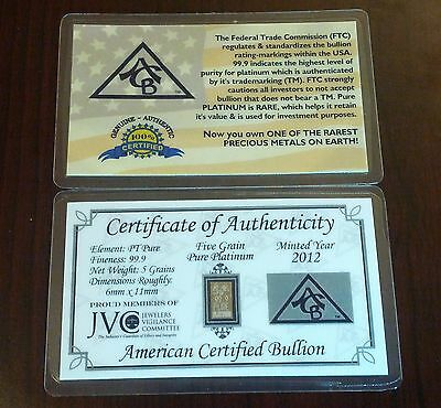 PURE PT 99.9 Platinum ACB 5Grain Very Rare Professionally minted Bullion Bar COA