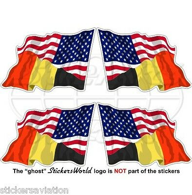 USA United States America-BELGIUM American-Belgian Flying Flag 50mm Stickers x4