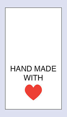 100 Hand Made with Love- Red Heart Sewing Washing care Labels  Code PRNT0030