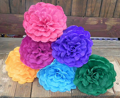 """Mexican Crepe Paper Flowers Set of 6  Multicolor Ondas""""We Make Special Orders"""""""
