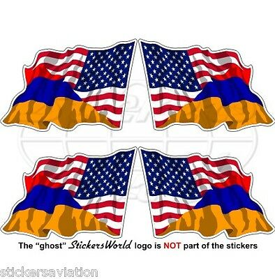 USA United States America-ARMENIA American-Armenian Flying Flag 50mm Stickers x4