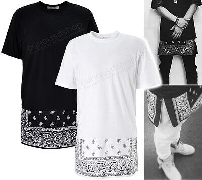 New Extended Paisley Bandana Print Graphic Side Zip Tee T-Shirt Black White