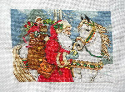 "completed finished handmade cross stitch ""Santa and horse"""