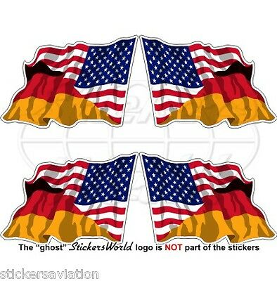 USA United States America & GERMANY American-German Flying Flag 50mm Stickers x4