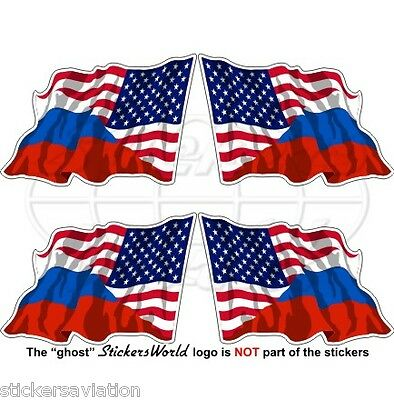 USA United States America-RUSSIA American-Russian Flying Flag 50mm Stickers x4