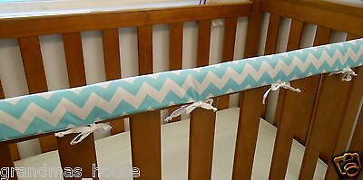 Baby Cot Crib Rail Cover Teething Pad Aqua Chevron 100% Cotton **REDUCED**