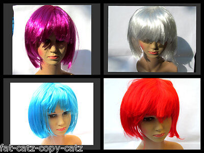 Womens Ladies Fancy Dress Costume Full Short Bob Synthetic Wig Fringe 7 Colours