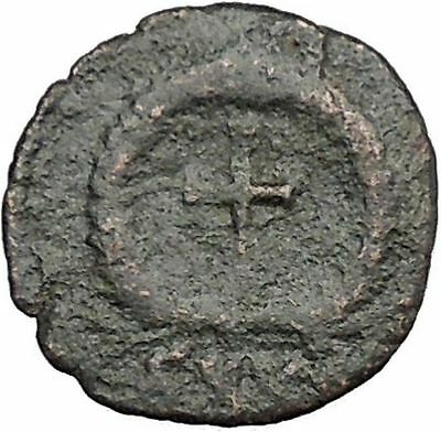 THEODOSIUS II 425AD  Ancient Roman Coin Cross within wreath of success  i32992