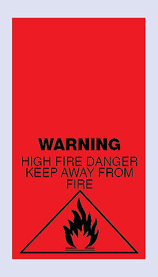 200 High Fire Danger Warning Sewing Care Labels
