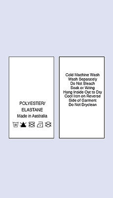 100 Polyster/Elastane Made In Australia Sewing Washing Care Labels
