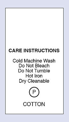 100 100% Cotton Cold Machine Wash Sewing Washing Care Labels