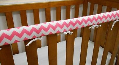 1 x Baby Cot Rail Cover Crib Teething Pad Pink Chevron  100% Cotton **REDUCED**