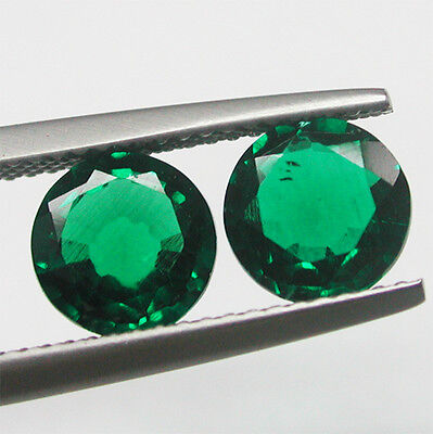 Nice!1.90ct(Pair)Awesome Russia Chrome Green Biron Emerald Round Cut Lab Stone~