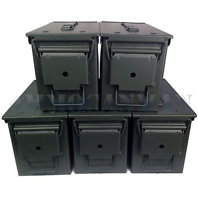 Unstenciled 5-Pack! (5) Brand New Mil-Spec 50 Cal M2A1 Ammo Cans Empty