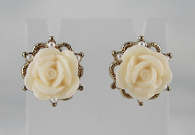 Cream Enamel Rose & Glass Pearls on Filigree Stud Earrings Gold-Finished Brass