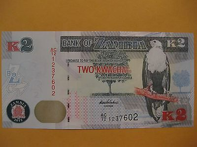 """Zambia 2 Kwacha Banknote  """"Roan Antelope""""  with Eagle, paper money,  CU 2012/13"""
