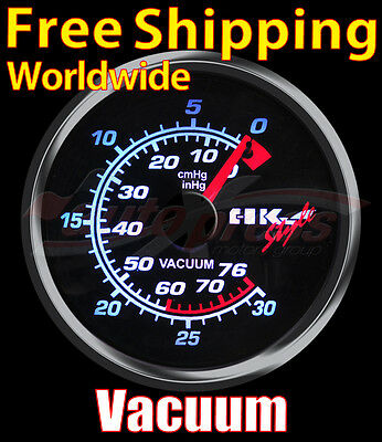 JDM 60mm 12V 270 Degree WHITE Light SMOKED Lens Auto Gauge Meter VACUUM RATIO