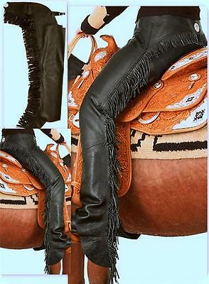 Tough 1 Smooth leather Black Riding Driving Motorcycle Western CHAPS XS S M L XL